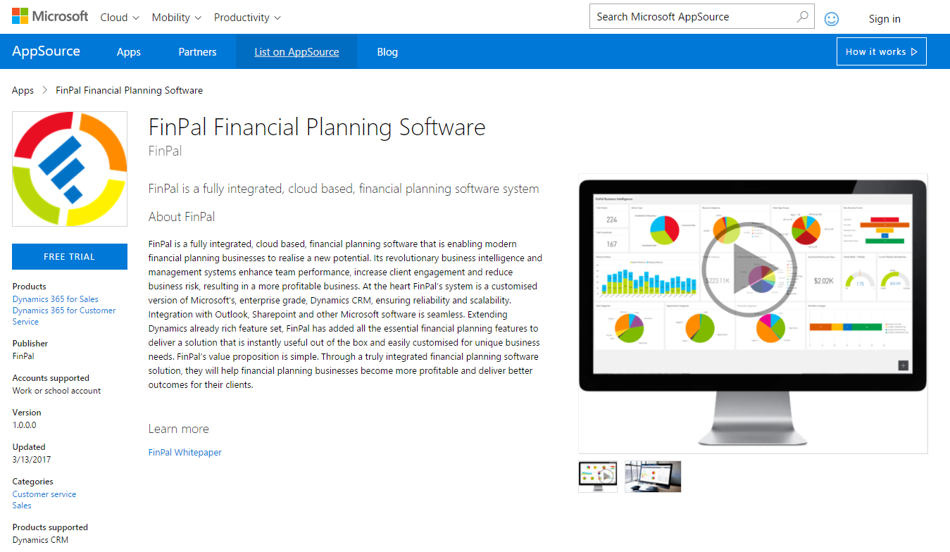 Microsoft AppSource - Fin365 Financial Planning Software